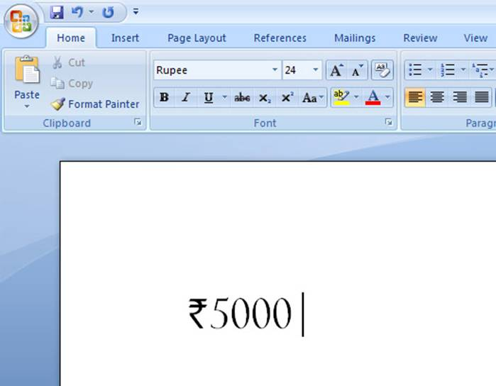 Steps To Include Indian Rupee Symbol Font In Ms Word Applications